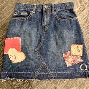 Gap Kids Jean Patch Embroidered Jean Skirt NWOT